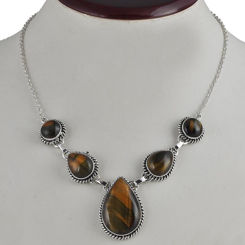 BLACK TIGER EYE 925 SOLID STERLING SILVER NEW STYLE NECKLACE 27.26g NK0034 #Handmade #NECKLACE