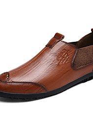 Hombre Zapatos PU Primavera & Otoño Confort Oxfords Negro / Azul Oscuro / Marrón Claro bWFjArUUl