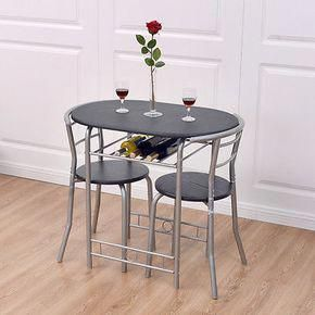 3 Pcs Bistro Dining Set Table And 2 Chairs Kitchen Furniture Pub