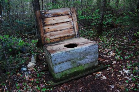 Latrine in Algonquin (Thunder Box) ....oh nice this one still has ...