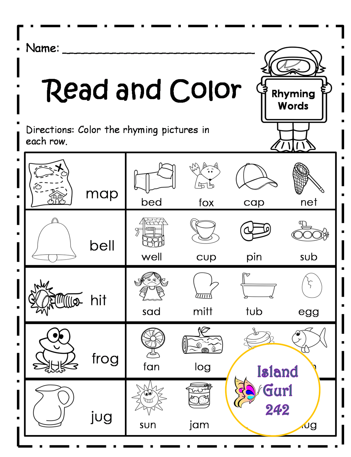 Color Rhyme Worksheet