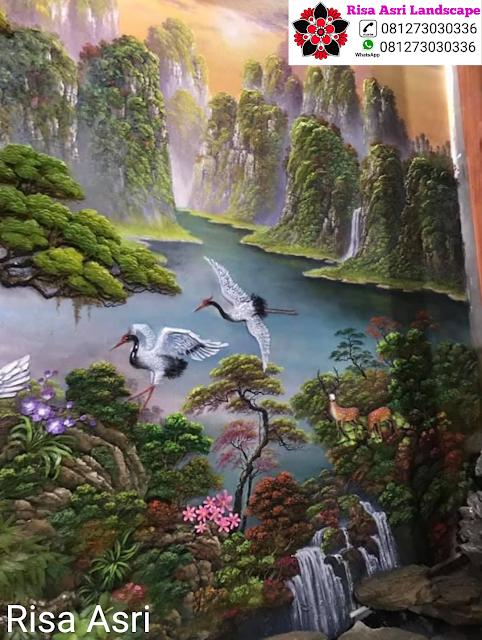 Risa Asri Ornamen Relif Dinding 3d Wallpaper Alam Yang Indah Pemandangan Lanskap