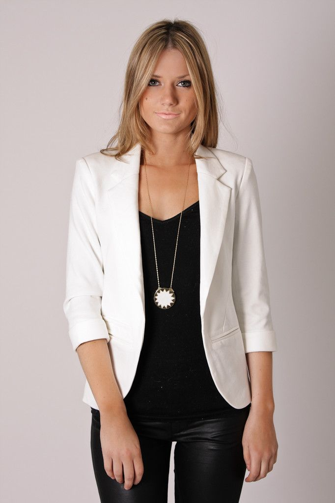 great deals on fashion factory outlets reasonably priced White blazer and waxed black jeans in 2019   Fashion, White ...