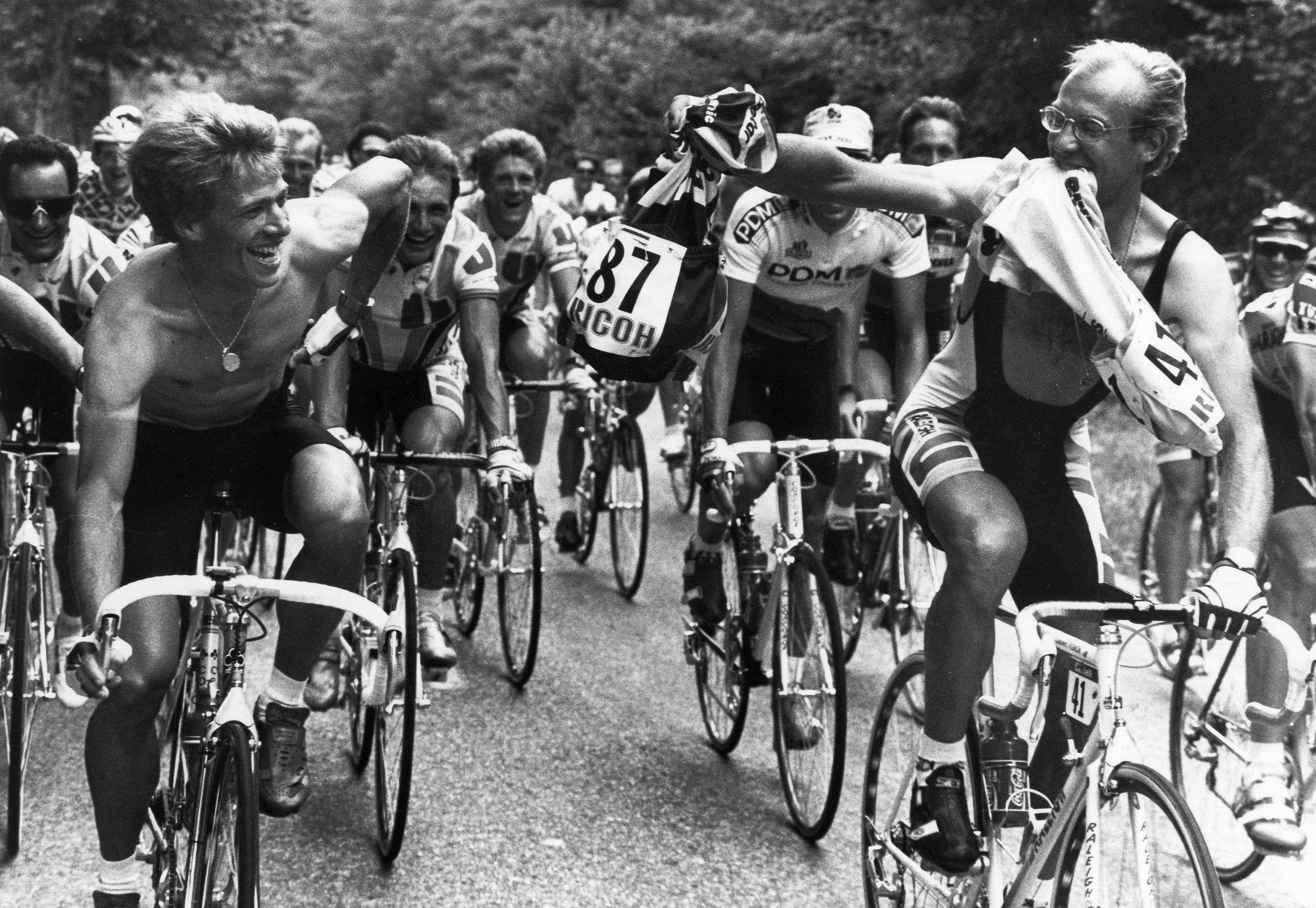 Laurent Fignon and Teun Van Vliet during the Tour de ...