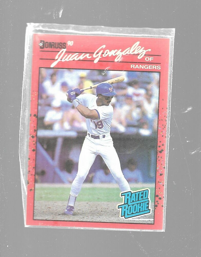 1990 donruss juan gonzalez 33 rated rookie texas rangers