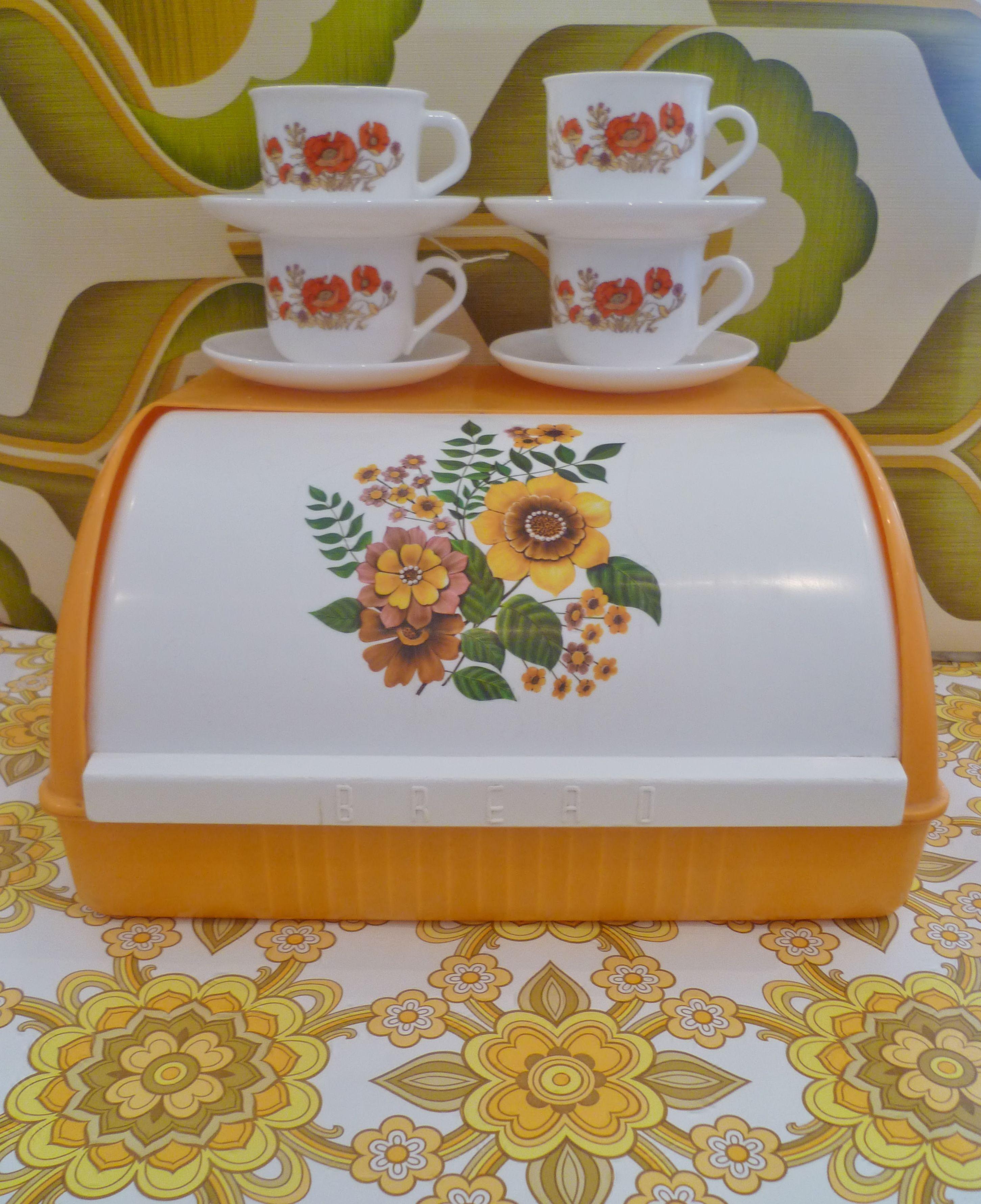 Vintage Seventies Breadbin & Tea Cups