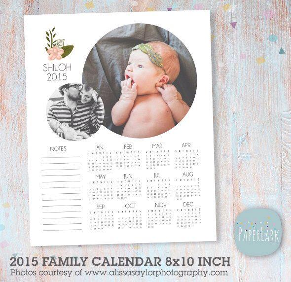 Family 2015 Calendar - Photoshop template 8x10 inch - AP003