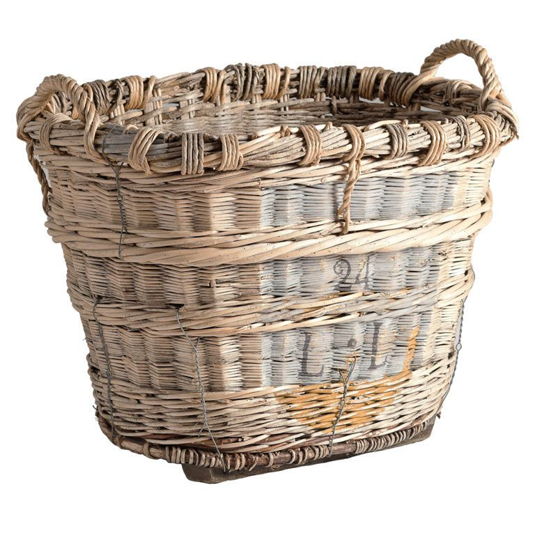 french antique champagne basket