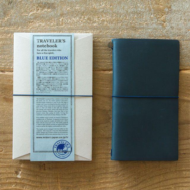 Midori Traveler's Notebook Leather Journal Blue Edition - Omoi Zakka Shop