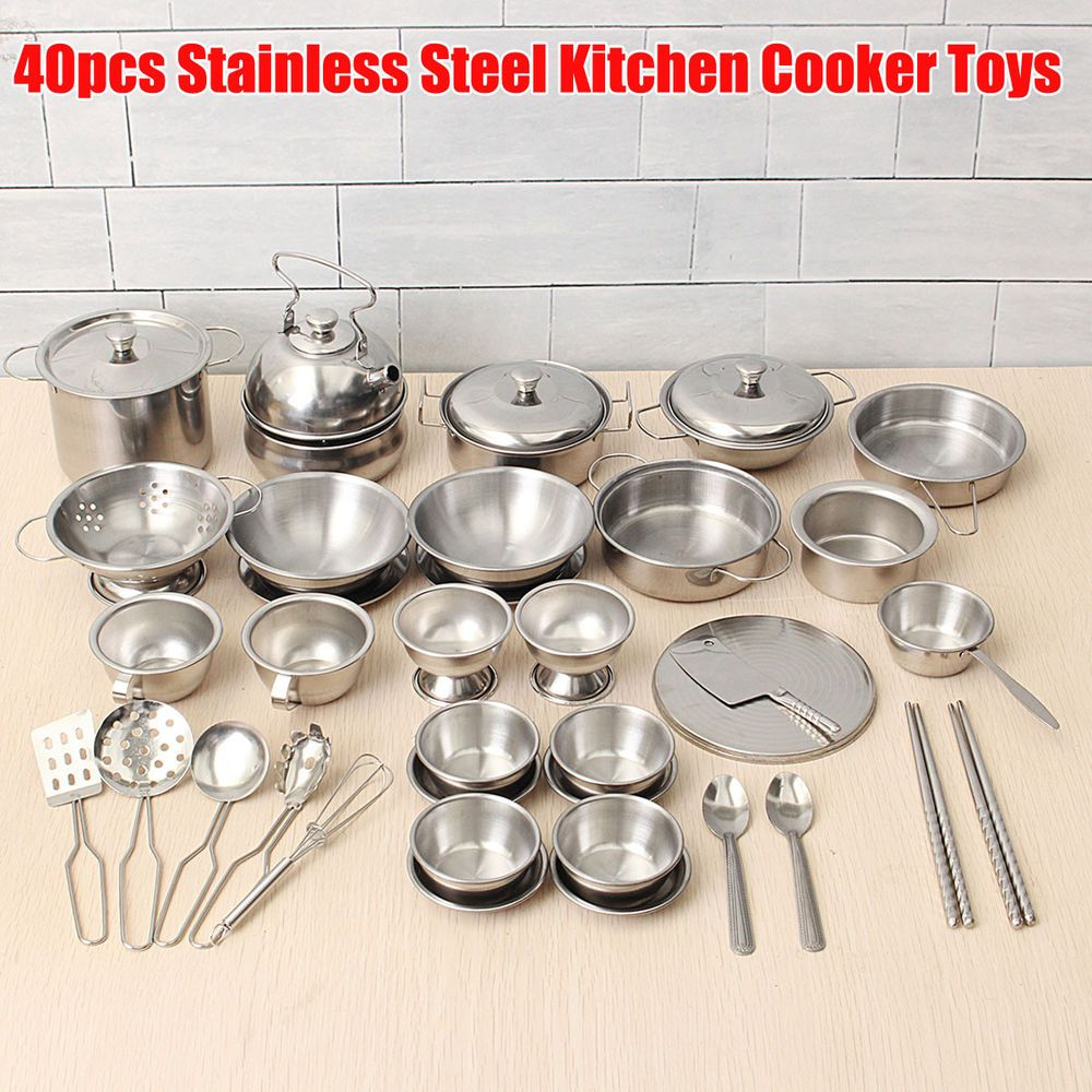 Us 40pcs Stainless Steel Kitchen Cooker Toys Child Kids Role Play Game Tools Set Stainless Steel Kitchen Kitchen Cooker Kitchen Sets For Kids