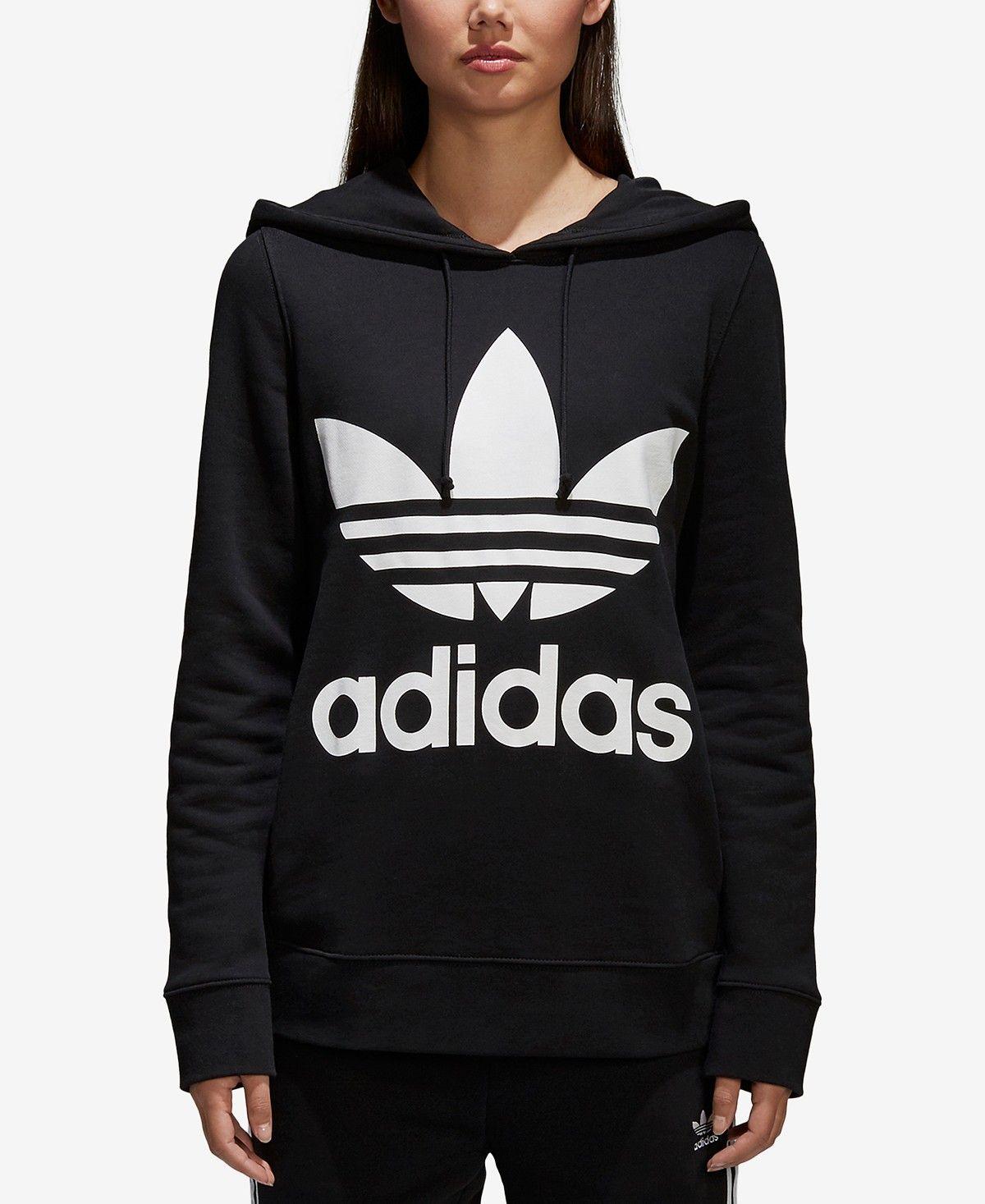 Adidas Women S Adicolor Cotton Trefoil Hoodie Reviews Tops Women Macy S Roupas [ 1467 x 1200 Pixel ]