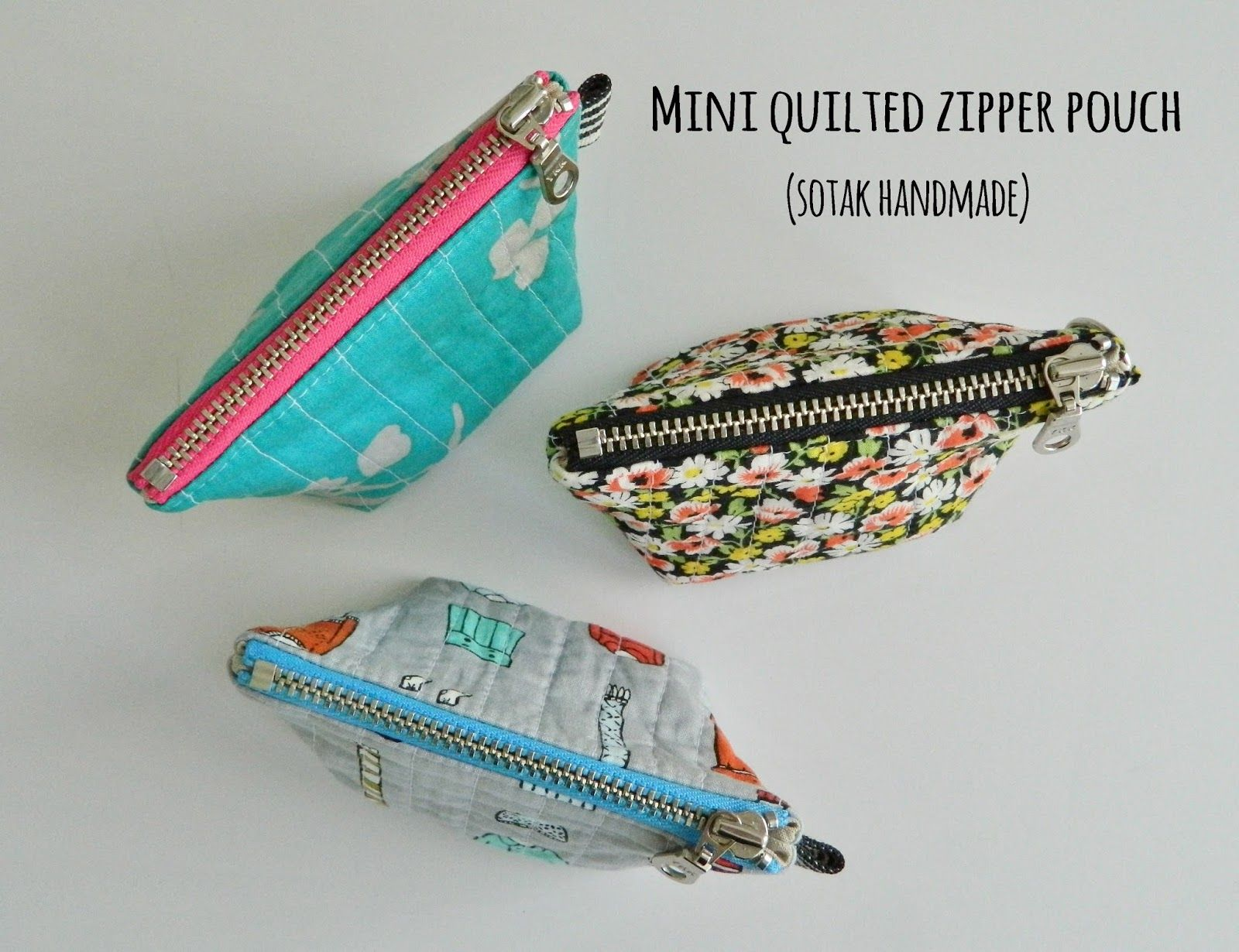 Makeup bag Tall Zipper Pouch Handmade Quilted