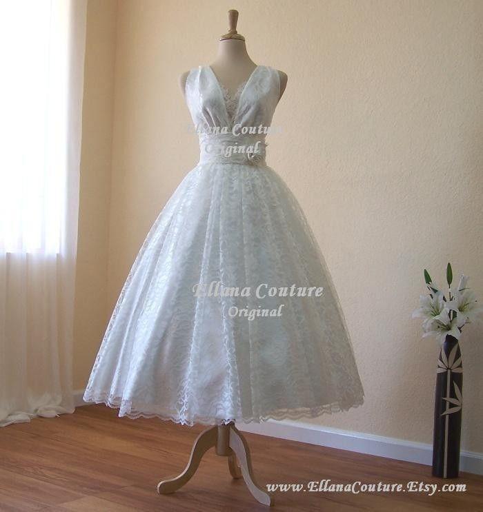 Iris - Retro Style Bridal Gown. Ivory Lace Tea Length Wedding Dress ...