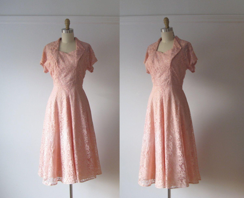 Lace dress pink  vintage s party dress  pink lace dress  via Etsy