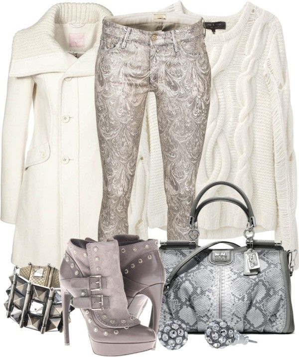 """""""Silver & White"""" by helenrosemay ❤ liked on Polyvore"""