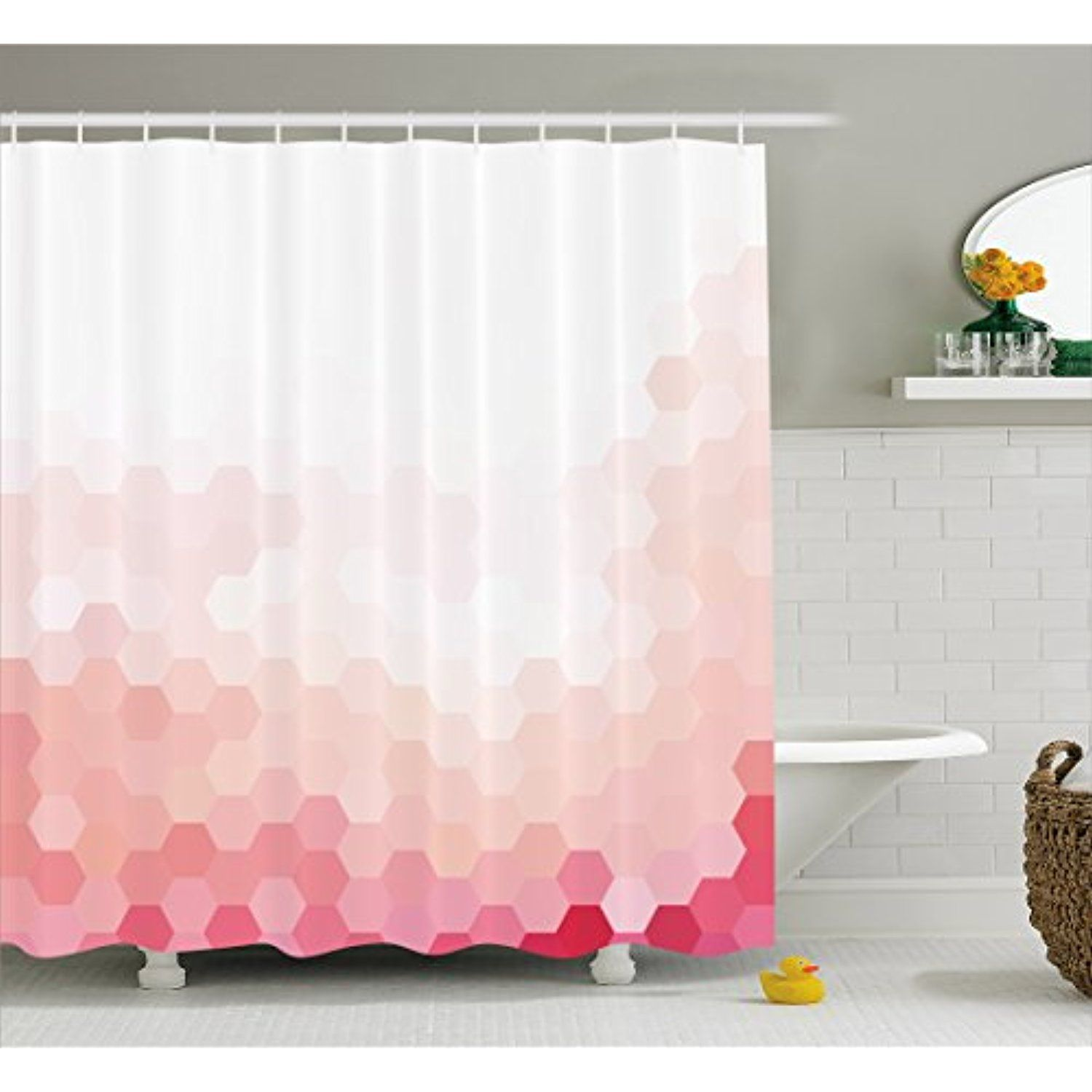 Light Pink Shower Curtain by Ambesonne, Gradient Toned Geometric ...