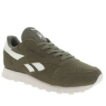 womens reebok khaki classic leather suede trainers