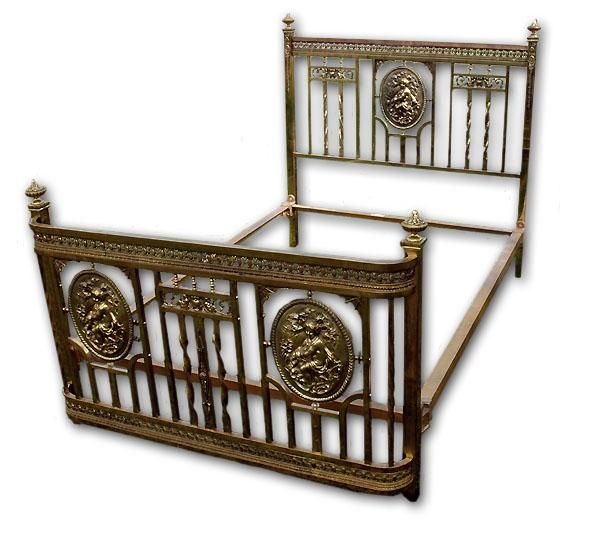 19th C. French Victorian Brass Bed With Cameo Medallions   Found On Ruby  Lane