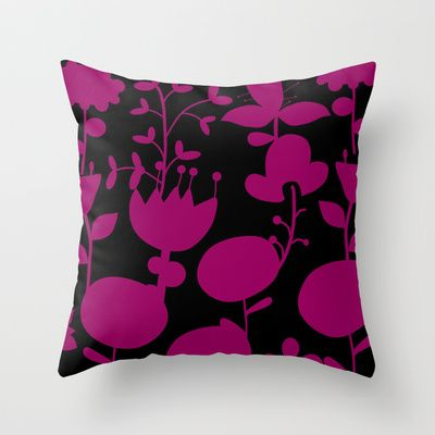 floral patterned Throw Pillow by aticnomar - $20.00