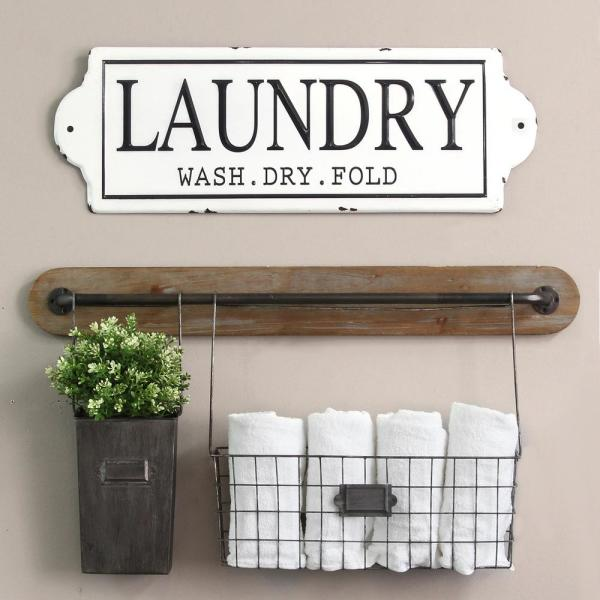 Stratton Home Decor Metal Laundry Wall Decor-S15047 - The Home Depot