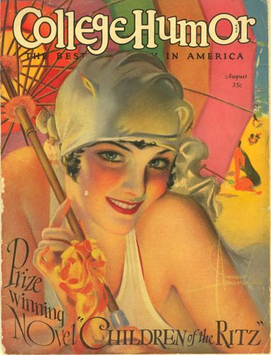 College Humor magazine - August 1927 - Rolf Armstrong cover, advertising art