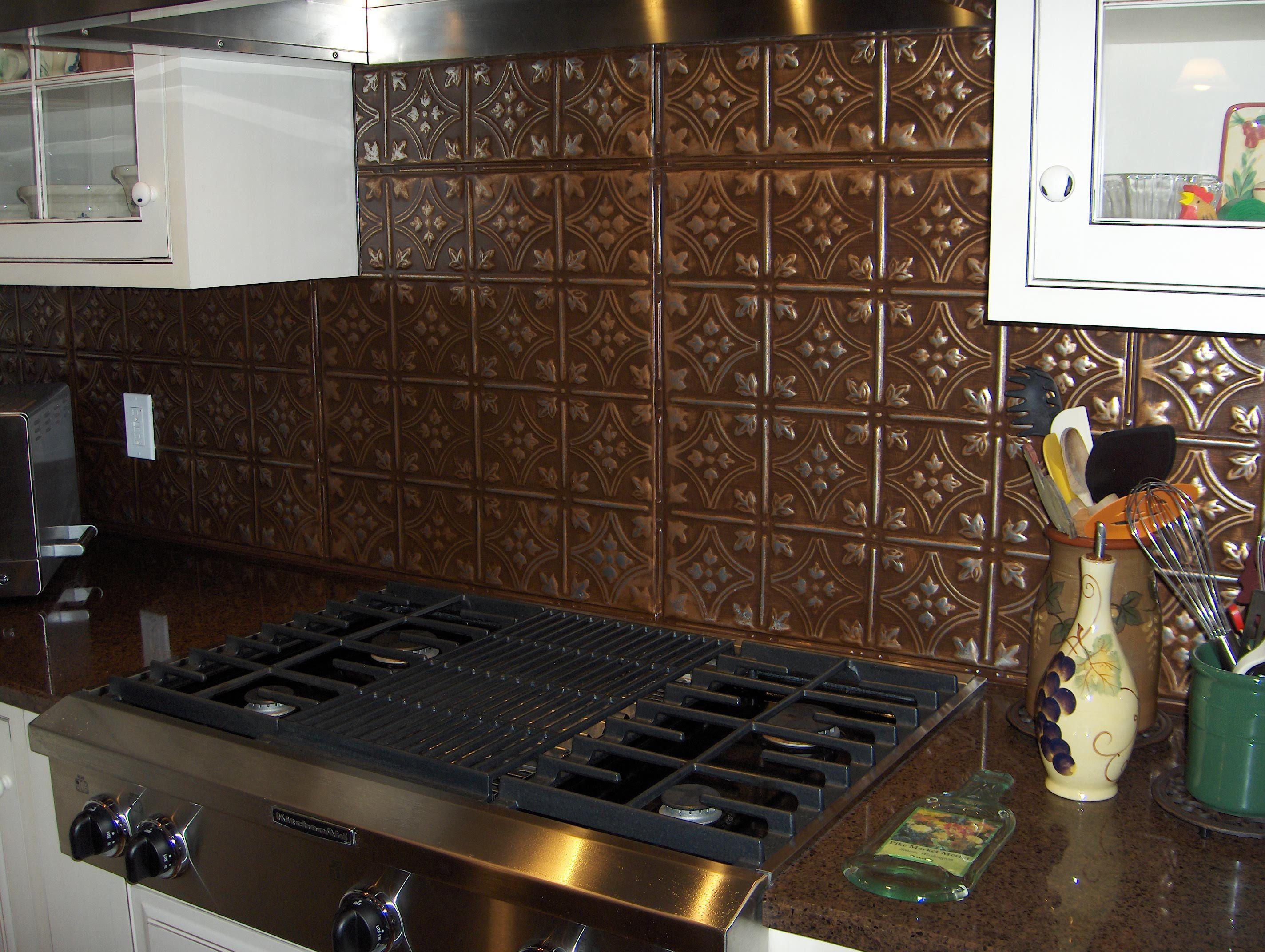 Hand painted over powder coat backsplash tin panels for this hand painted over powder coat backsplash tin panels doublecrazyfo Image collections