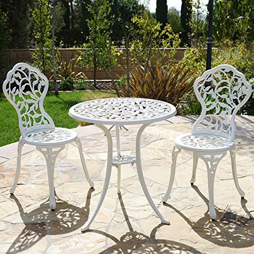 Vintage Cast Aluminum White Outdoor Patio Set With Table 4