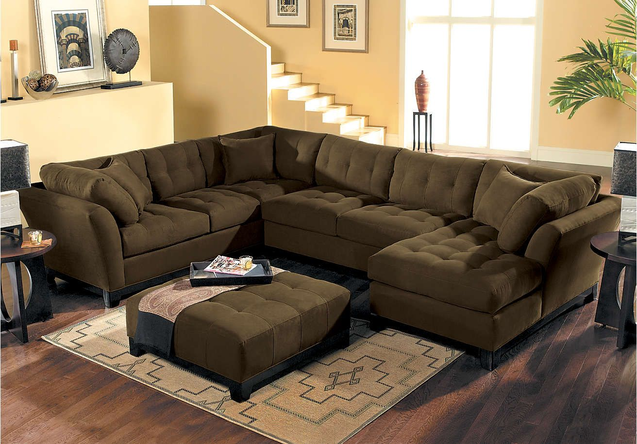 cindy crawford metropolis espresso 3pc sectional 1 999