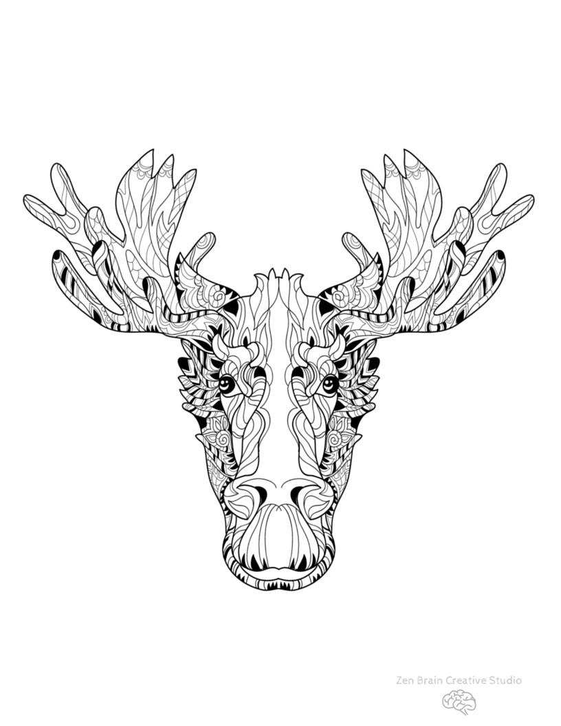 Elk Head Digital Coloring Page | Elk and Colored pencils