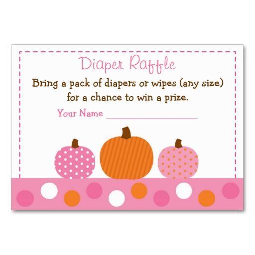 pink pumpkin diaper raffle tickets business card