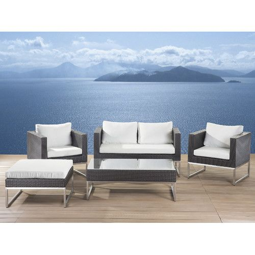 Kabir Garden 5 Piece Rattan Sofa Set with Cushions Garden - lounge gartenmobel gunstig