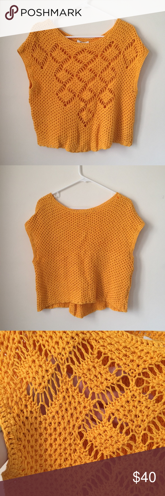 Ella Moss Whitney Pointelle Sweater Small Bohemian chic sweater from Ella Moss in bright, beautiful marigold. Slightly cropped. Textured, loose knit pullover. Round neckline. Size small. Excellent condition. Mark through Label to prevent returns. Ella Moss Sweaters Crew & Scoop Necks