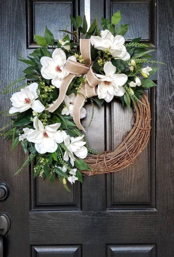 Photo of Magnolia Wreath, Spring Wreath, Wreath for Front Door