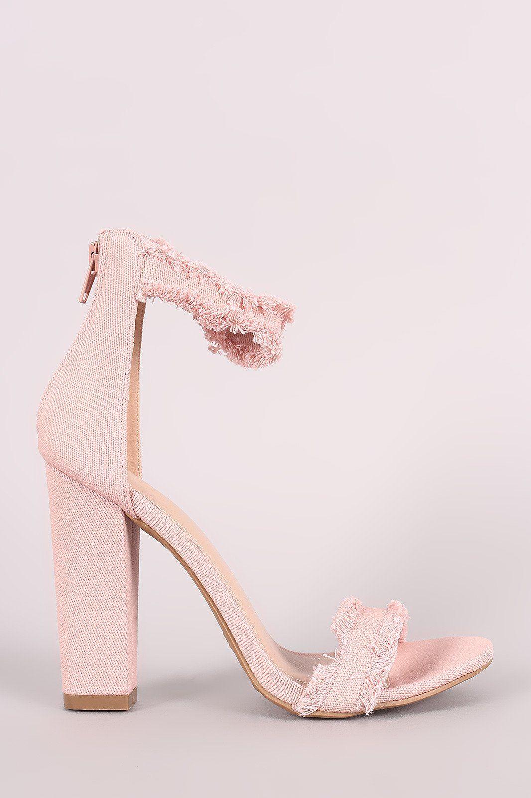 862f8dda0ef Shoe Republic LA Frayed Denim Ankle Strap Chunky Heel