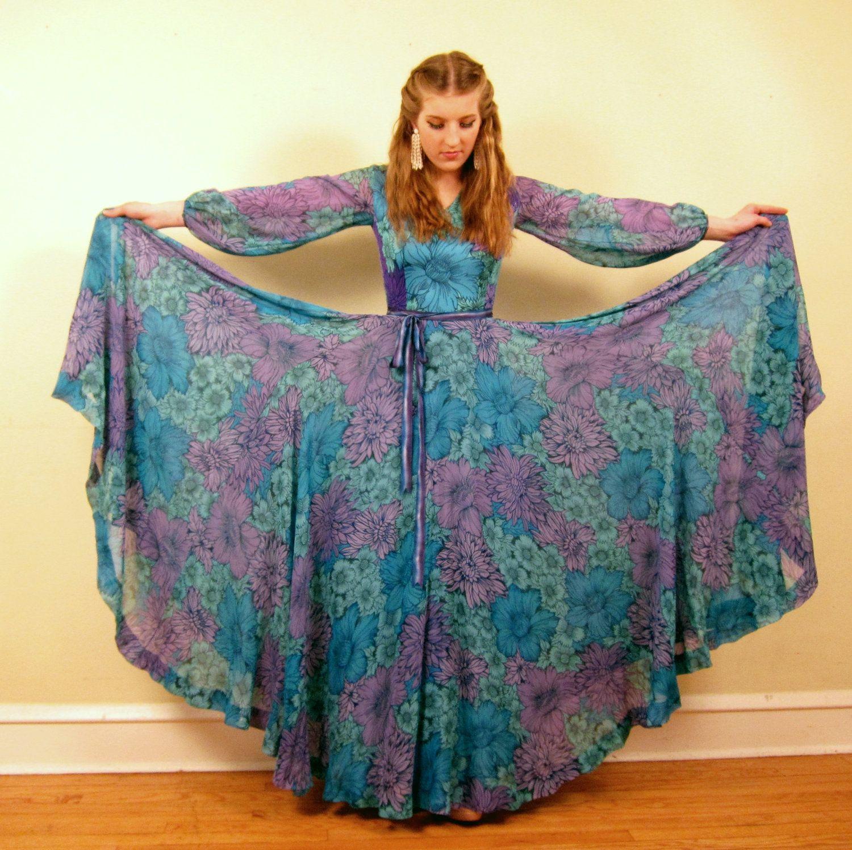Vintage s la mendola dress s designer maxi dress in blue and