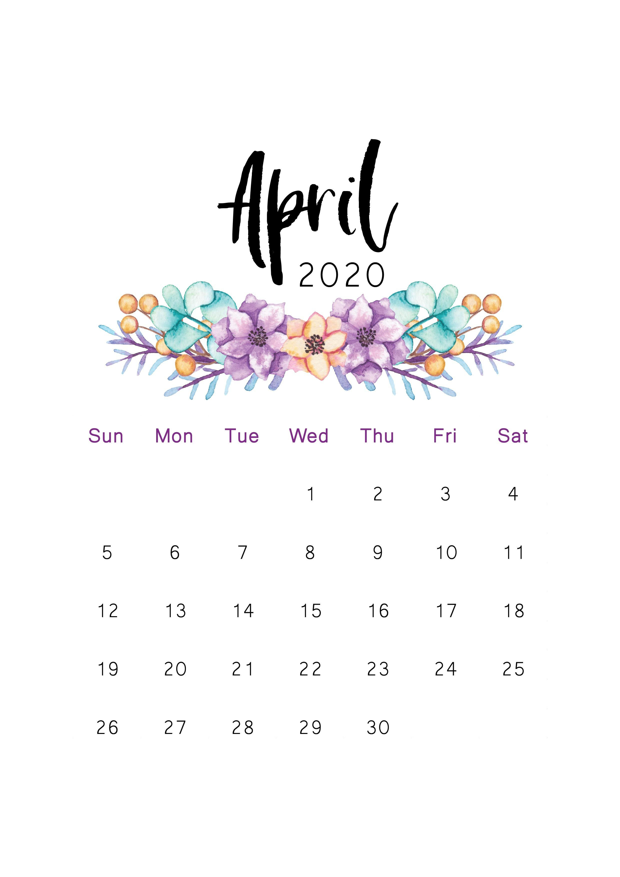 April 2020 Printable Calendar Di 2020 Kalender Belajar Ide