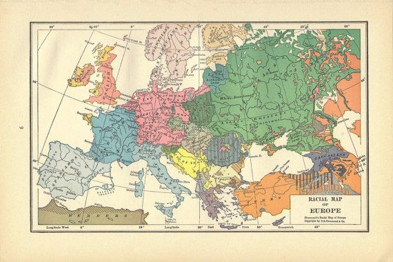 1920s Europe Map.Racial Europe Map 1920s Antique Map Print Wall Decor Atlas Art