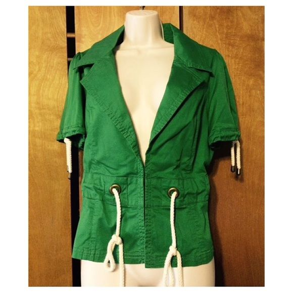 "Green Anthropologie jacket Anthropologie Ett Twa green sailmakers jacket size 12. Eye/hook closures.  Bust 18"", length 21"". Excellent condition. Ett Twa Jackets & Coats"