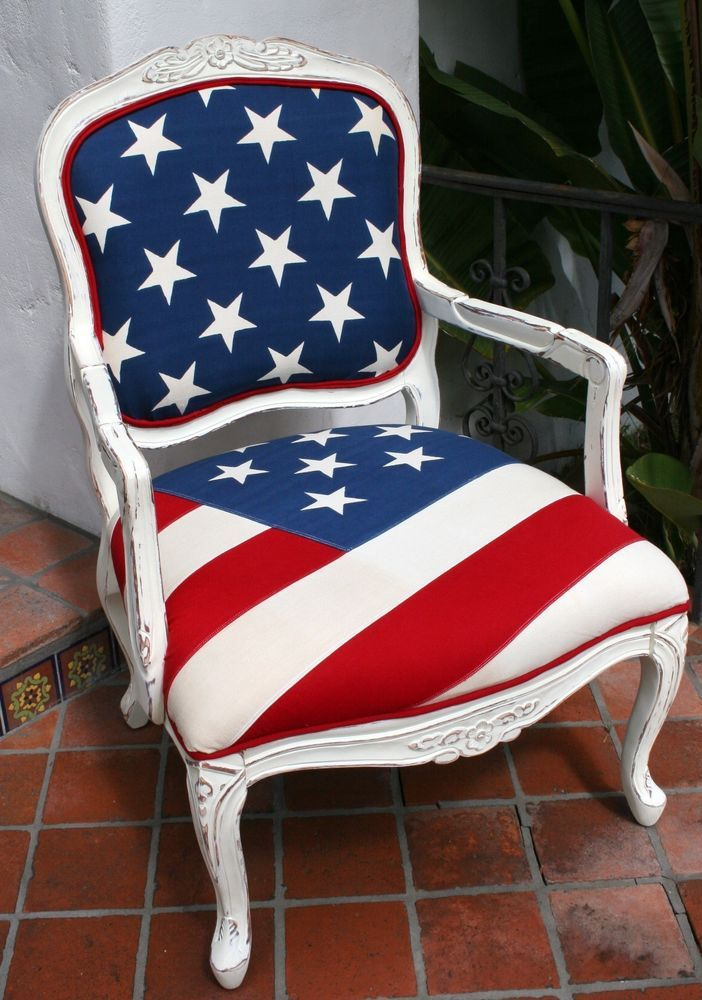 Vintage Antique Style Carved Wood Chair Upholstered In American Flag