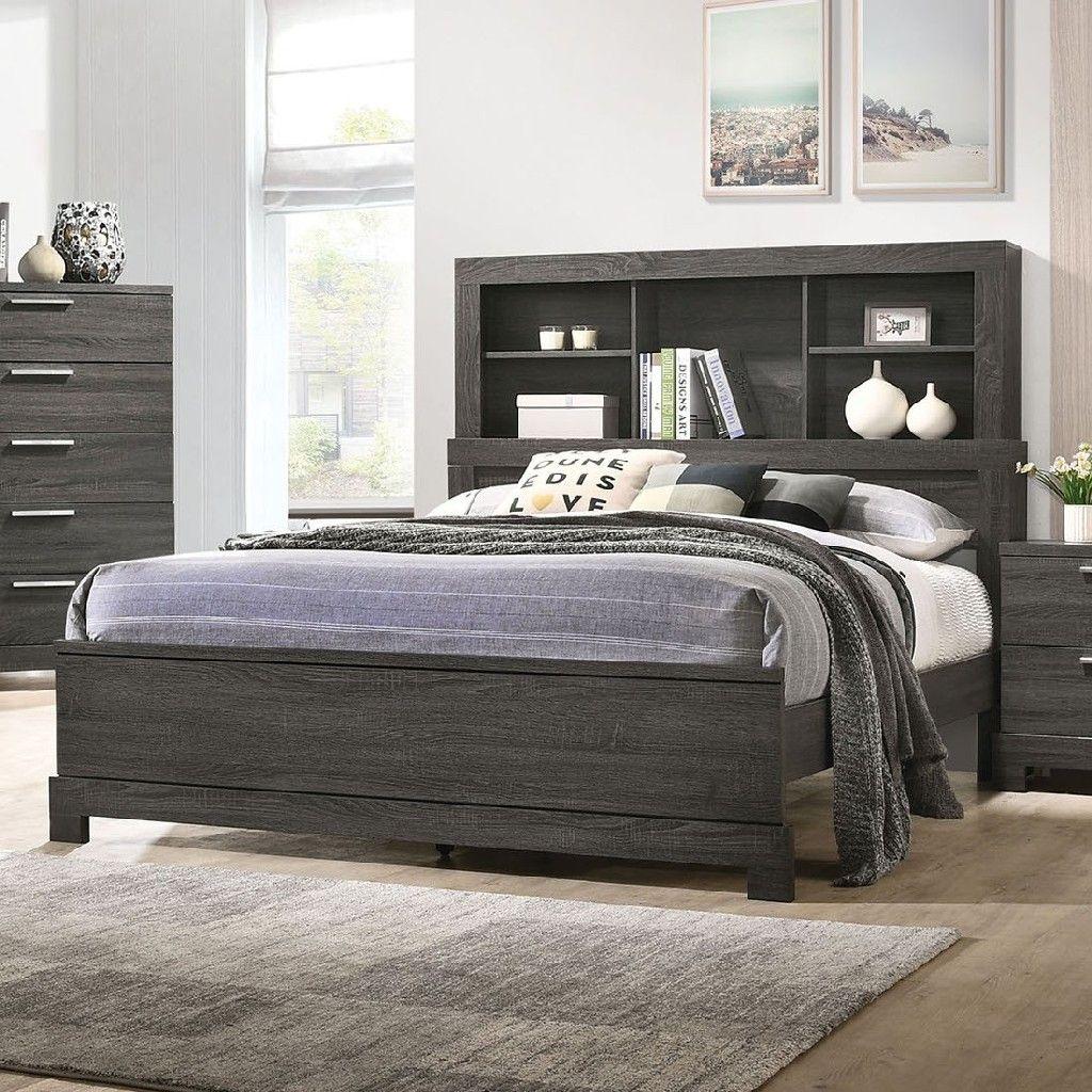 Lantha Eastern King Bed in Gray Oak Acme Furniture