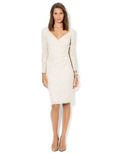 What S New Little White Dresses Sequined Lace Surplice Dress