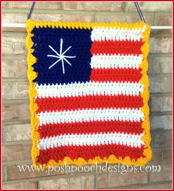 American Flag Garden Sign Crochet Pattern