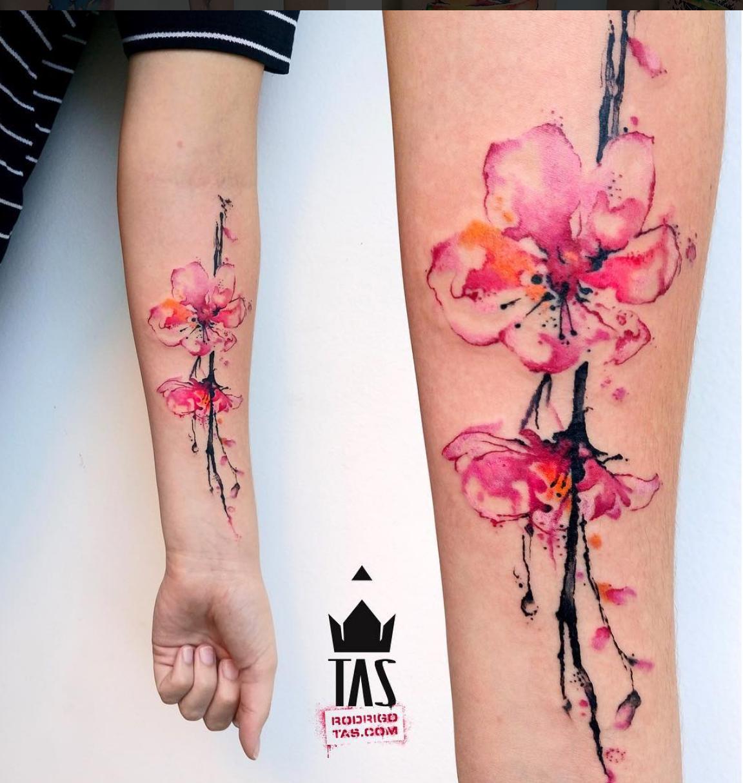 ce1d6a7c05d9c Watercolour cherry flowers tattoo Rodrigo TAS | Inked Up. | Blossom ...