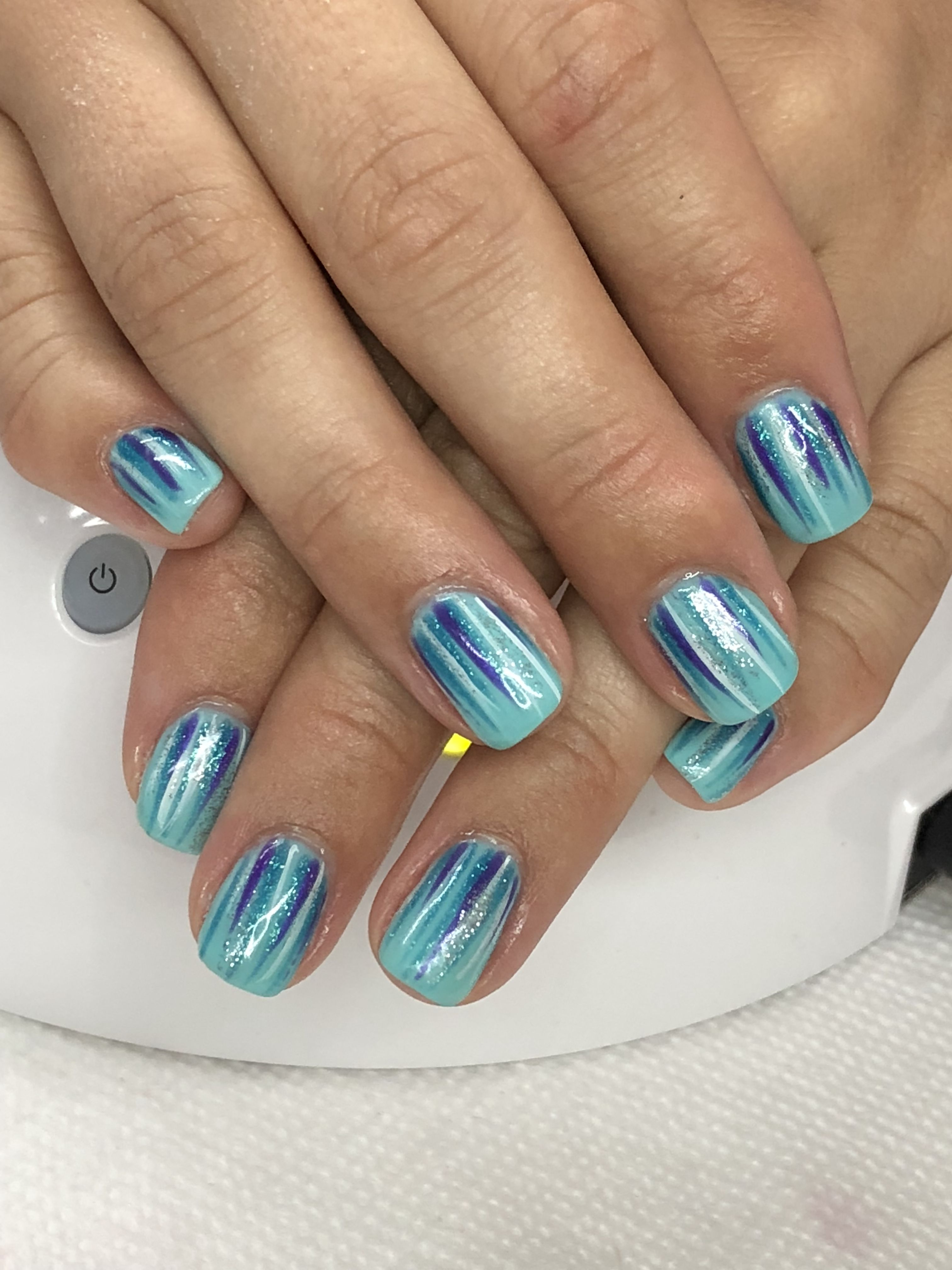 Summer Blue Purple Waterfall Gel Nails Gel Nail Designs Gel