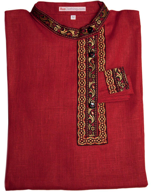 Linen kosovorotka shirt, traditional Russian clothing for men.