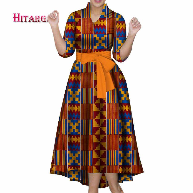 New Vintage African Women Patchwork Bow-knot A-line Dresses Ankara Clothes Bazin Rihce African Print Dresses for Women WY3135-2 #africanprintdresses