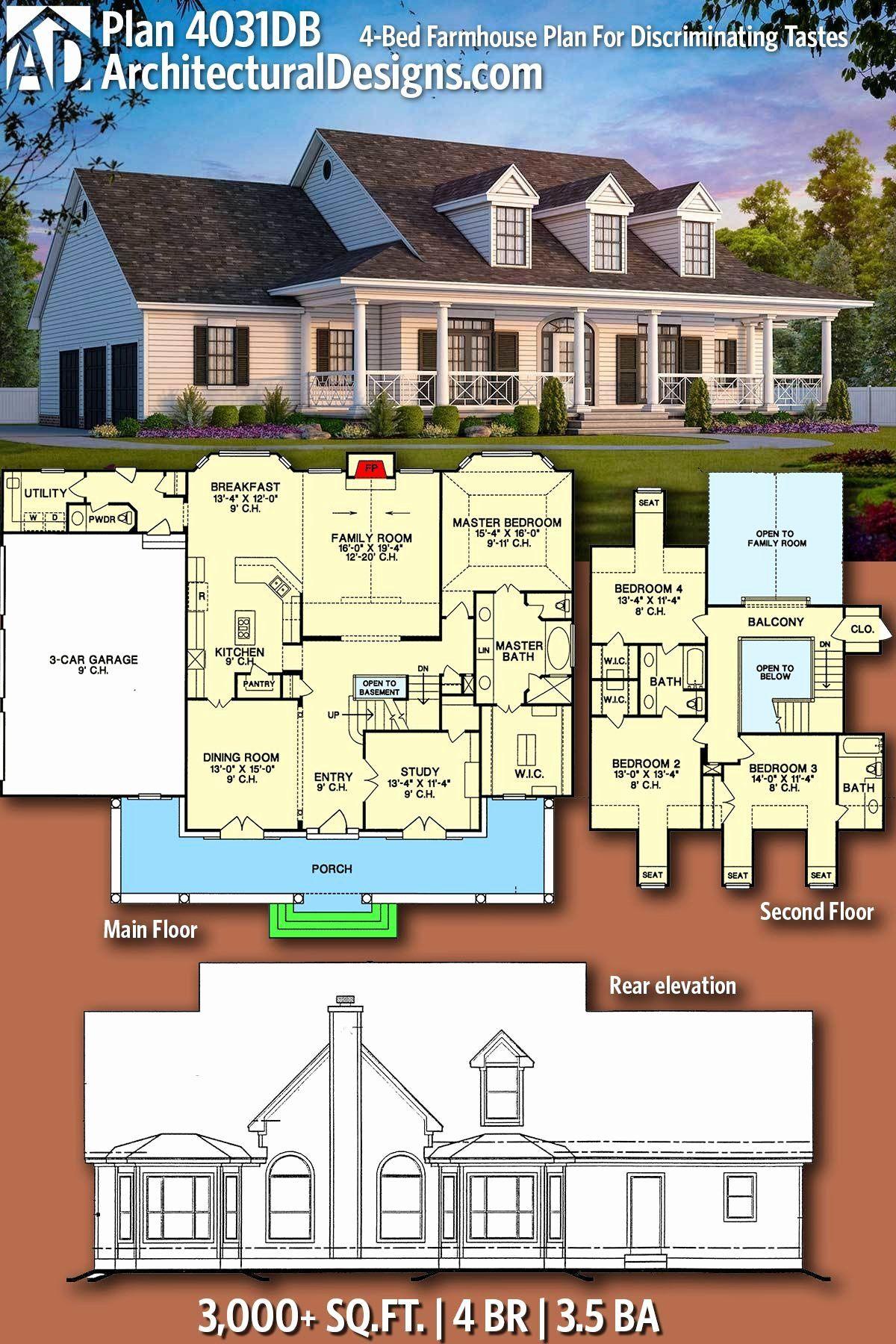 3000 Sq Feet House Plans Fresh Plan 4031db 4 Bed Farmhouse Plan For Discriminating Tastes In 2020 Modern Farmhouse Plans Farmhouse Plans House Floor Plans