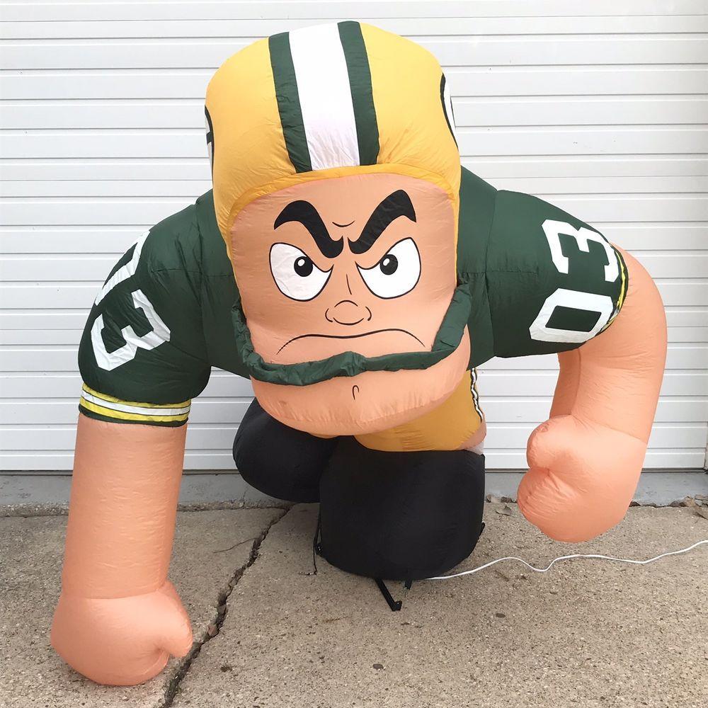 7ft Green Bay Packers Airblown Inflatable Football Player Gemmy Light Yard Decor Football Decorations Yard Decor Green Bay Packers