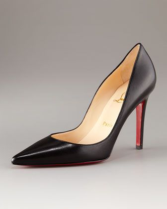 cf5ae6ad8b68 Christian Louboutin Pointed-Toe Black Leather Heels...someday it d be fun  to walk around in these  )