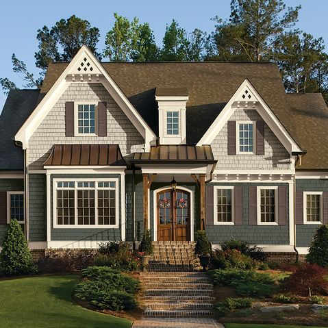 Two tone blue exterior house colors google search for Stucco and siding combinations